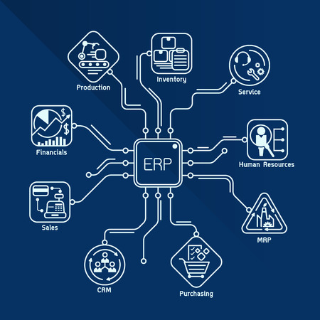 features: Enterprise resource planning (ERP) module Construction flow line art vector design