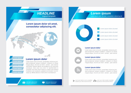 Layout template size A4 Front page and back page  Blue square oblique Vector  design