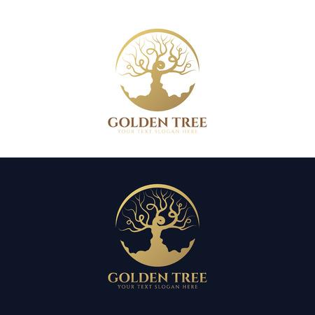 Árbol de oro (Los árboles sin hojas en círculo) El diseño del arte Vector de la insignia