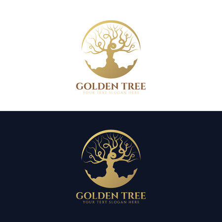 Golden tree (Trees without leaves in circle) logo vector art design Illustration