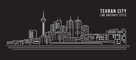 도시 건물 라인 아트 벡터 일러스트 레이 션 디자인 - 테헤란 도시