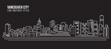 都市の景観建物ライン アート ベクトル イラスト デザイン - バンクーバー市 写真素材 - 55491968