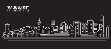 Cityscape Building Line art Vector Illustration design - Vancouver city