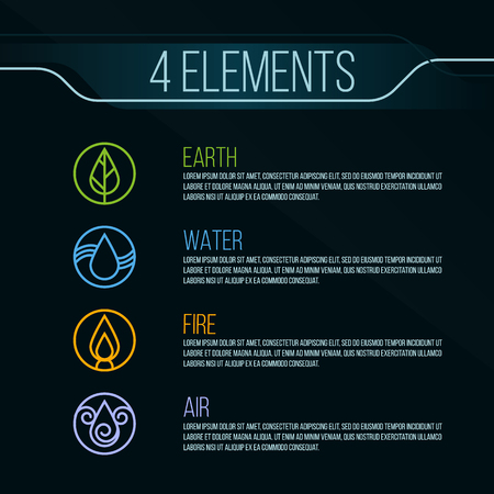 biogas: Nature 4 elements circle sign. Water, Fire, Earth, Air. on dark background.