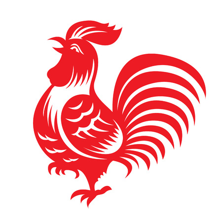 cut paper: Red paper cut a chicken bantam zodiac symbols Illustration