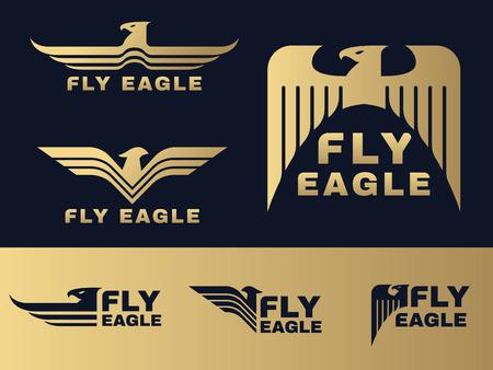 Oro e Blue Eagle logo set disegno vettoriale scuro Logo