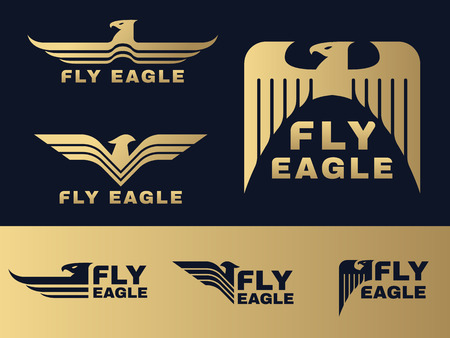 Gold and dark blue Eagle logo vector set design
