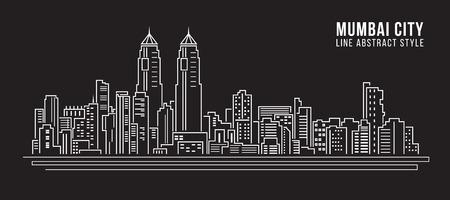 都市の景観建物ライン アート ベクトル イラスト デザイン - ムンバイ市  イラスト・ベクター素材