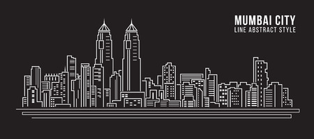 Cityscape Building Line art Vector Illustration design - mumbai city