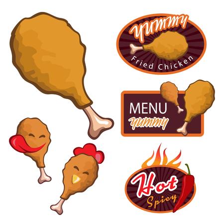 pollo: Delicioso frito logotipo de pollo. Menú bandera delicioso. Muslo de pollo. Diseño de la bandera del vector conjunto picante Vectores