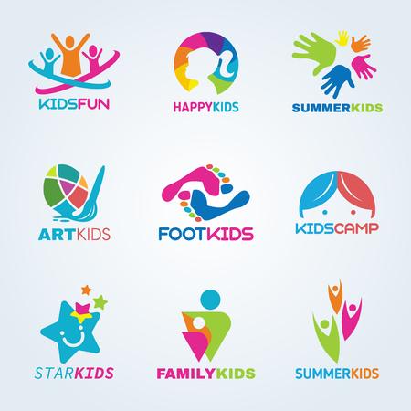 Kinder Kind Kunst und Spaß-Logo Vektor-Set Design