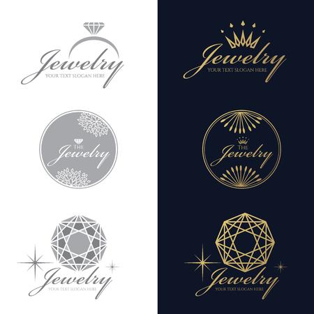 logotipo de anillo de la joyería. logotipo de la corona de la joyería. la flor de la joyería y el logotipo de círculo. logotipo del diamante del octágono. conjunto de vectores y aislar sobre fondo blanco y azul oscuro Logos