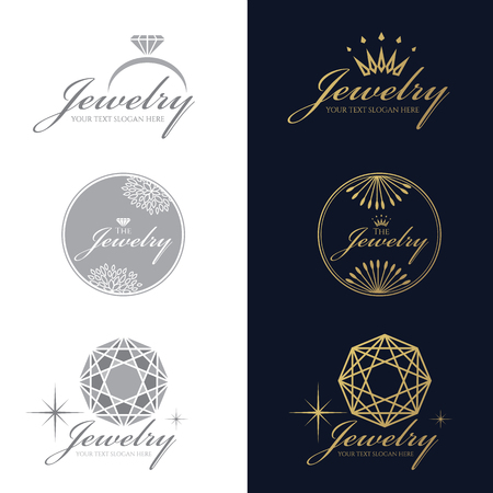 Jewelry ring logo. Jewelry crown logo. Jewelry flower and circle logo. Diamond Octagon logo. vector set and isolate on white and   dark blue background Illustration