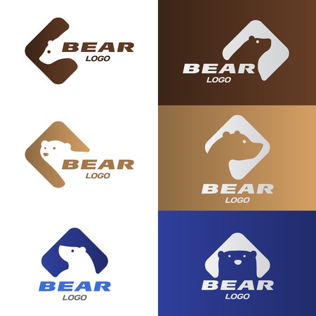 Head Bear in diamond with rounded corners logo vector set design