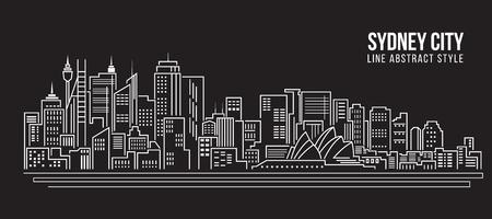 都市の景観建物ライン アート ベクトル イラスト デザイン - シドニー市内  イラスト・ベクター素材