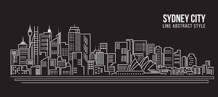 Stadtansicht von Gebäuden Linie Kunst Vektor-Illustration Design - Sydney Stadt Vektorgrafik