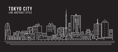 도시 풍경 라인 아트 벡터 일러스트 레이 션 디자인 - 도쿄 도시