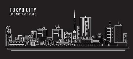 Paisaje urbano de construcción de línea de diseño de la ilustración de arte vectorial - la ciudad de Tokio