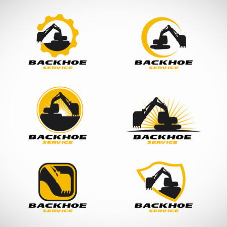 tractor warning: Yellow and black Backhoe logo vector set design Illustration
