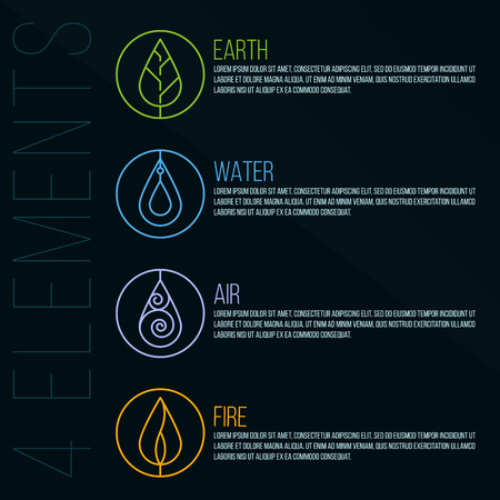 elements of nature: Nature 4 elements circle logo sign. Earth, Water, Fire, Air. on dark blue background.