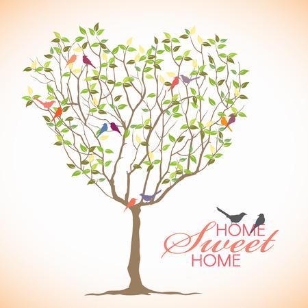 sweet heart: Home sweet Home - Bird and Heart tree vector design