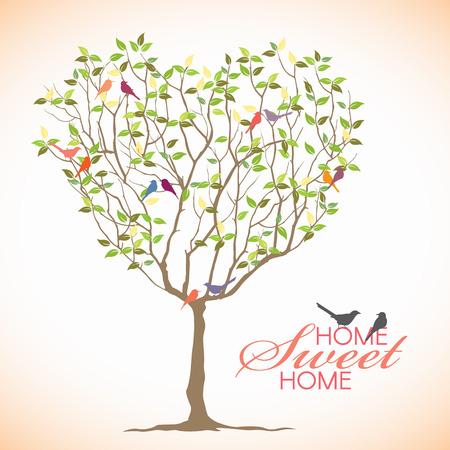 Casa dolce casa - uccello ed il cuore disegno vettoriale