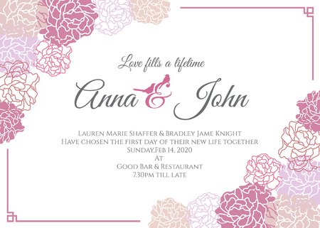 Tarjeta de boda - Rosa rosa plantilla de diseño floral del vector del marco
