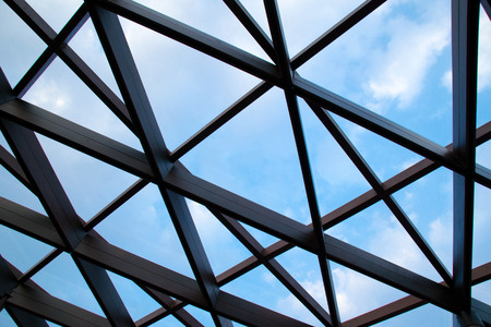 Structural steel cross construction and Cloud sky