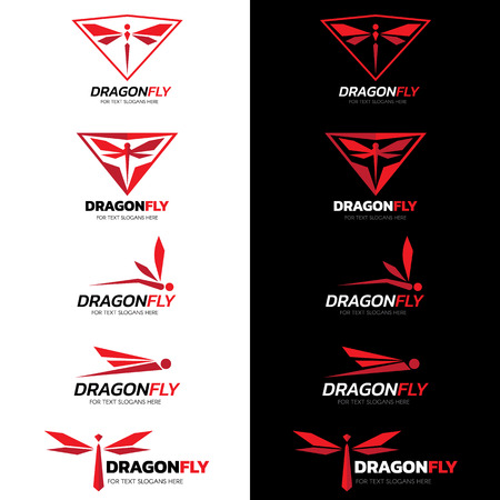 Red Dragonfly logo vettoriale set art design