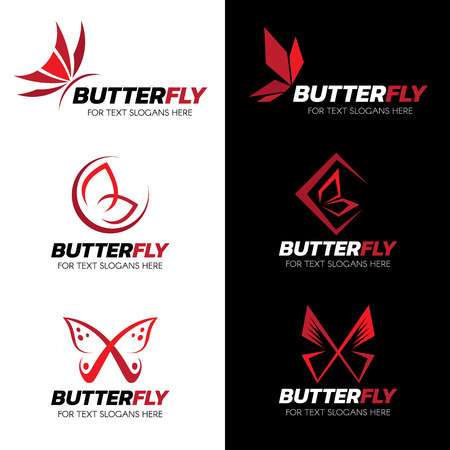 papillon: Red Butterfly logo vector set art design