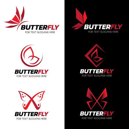 mariposa: set El diseño del arte de la mariposa rojo vector logo