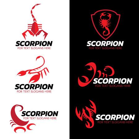 Red Scorpion Logo Vektor-Set Kunst-Design Illustration