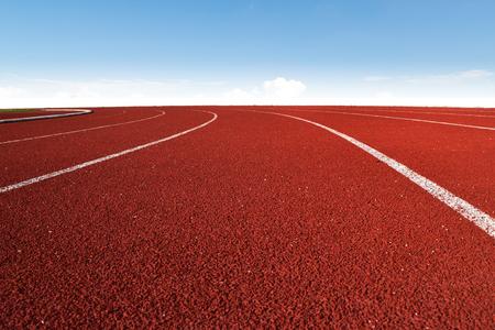 Atletismo, estadio, atletismo, pista, curva, azul, cielo