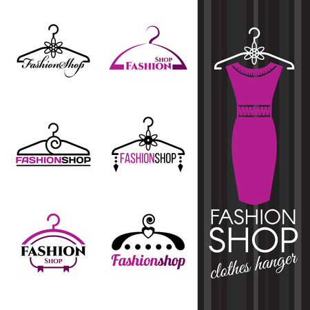 woman closet: Fashion shop logo - Violet Clothes hanger vector set design