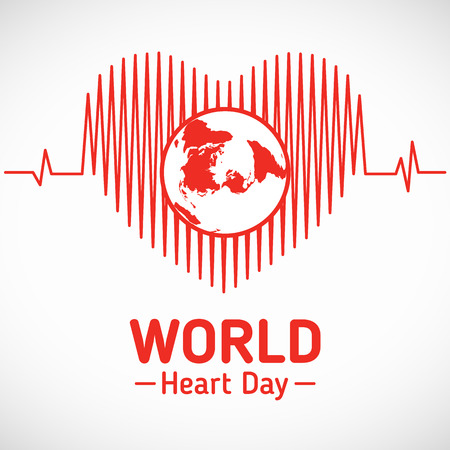 World heart day - world in heart wave vector design