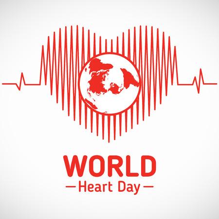World Heart dag - wereld in het hart wave vector design Stock Illustratie