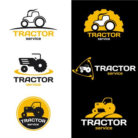 maquinaria pesada: logotipo del tractor amarillo y negro conjunto de vectores de diseño