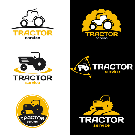 agriculture machinery: Yellow and black Tractor logo vector set design