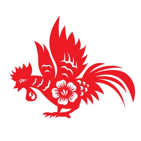 red paper: Red paper cut a chicken zodiac symbols