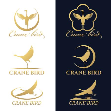 blue heron: Gold crane bird logo vector set design