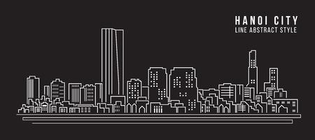 Cityscape Building Line art Vector Illustration design - Hanoi city