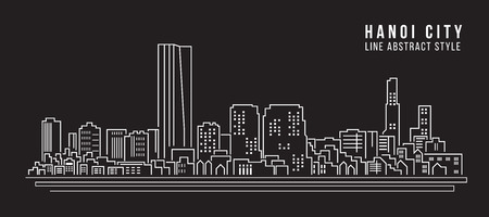 Cityscape Building Line art Vector Illustration design - Hanoi city