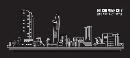 chi: Cityscape Building Line art Vector Illustration design - Ho Chi Minh city