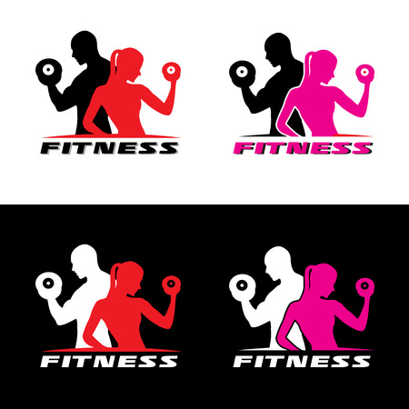 health and fitness: Fitness logo vector - Man and woman holding a dumbbell. Illustration