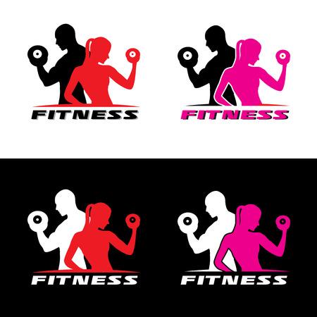 Fitness logo wektora - mężczyzna i kobieta trzyma hantle.