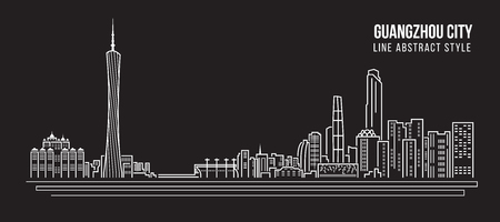 property of china: Cityscape Building Line art Vector Illustration design - Guangzhou city