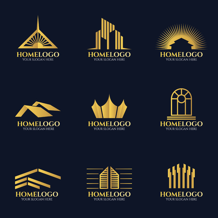 Golden home logo vector set design
