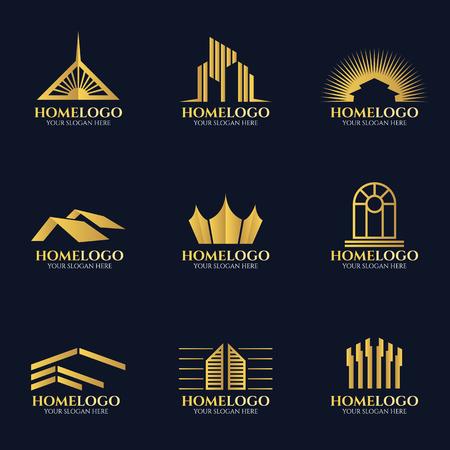 Złoty dom logo wektor zestaw projektowania