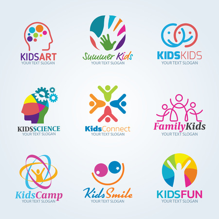 Colorful Kids art logo vector set design