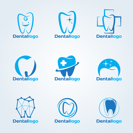 tooth icon: Dental Clinic and service logo vector set design Illustration